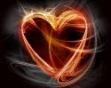 Heart on fire over black and white background